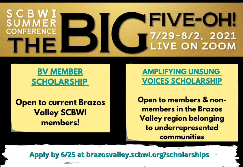 Brazos Valley SCBWI 2021 Summer Conference Scholarships